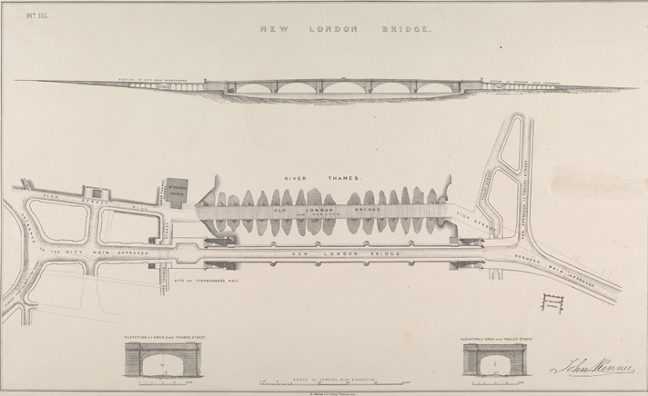 John Rennie's Plan and Elevation of Old and New London Bridge